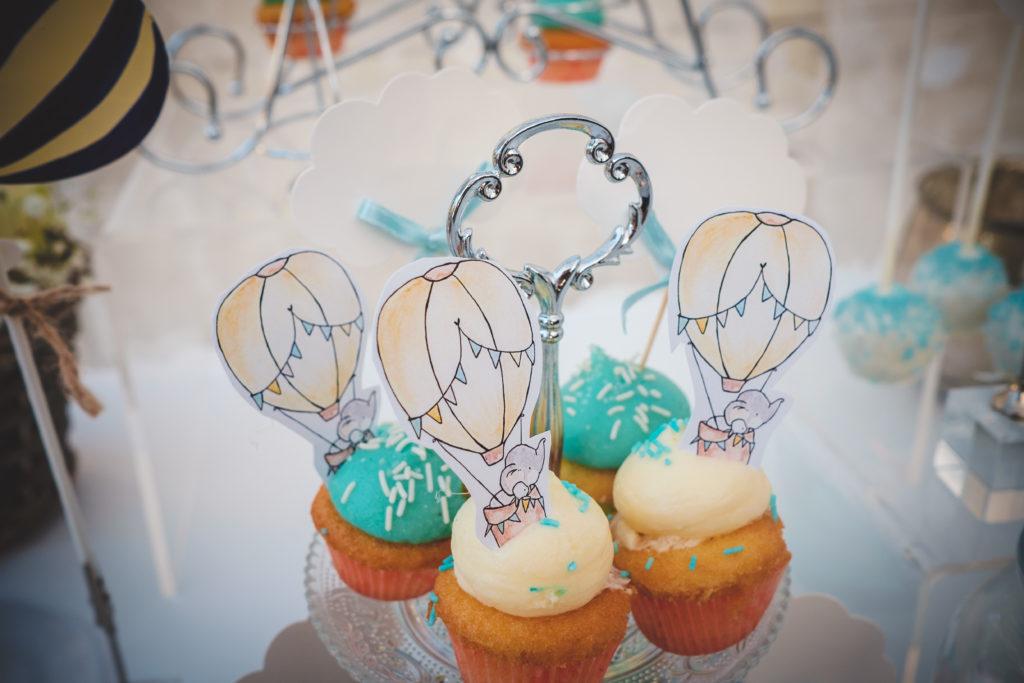 cupcakes tema mongolfiera